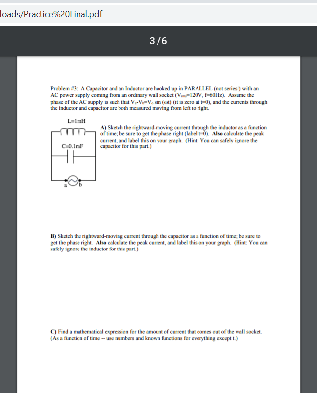 Solved: Loads/Practice%20Final pdf 3/6 Problem #3 : A Capa