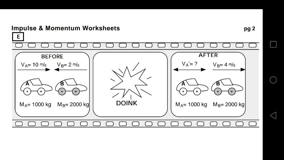Solved: Impulse & Momentum Worksheets Pg 2 BEFORE AFTER VA ...