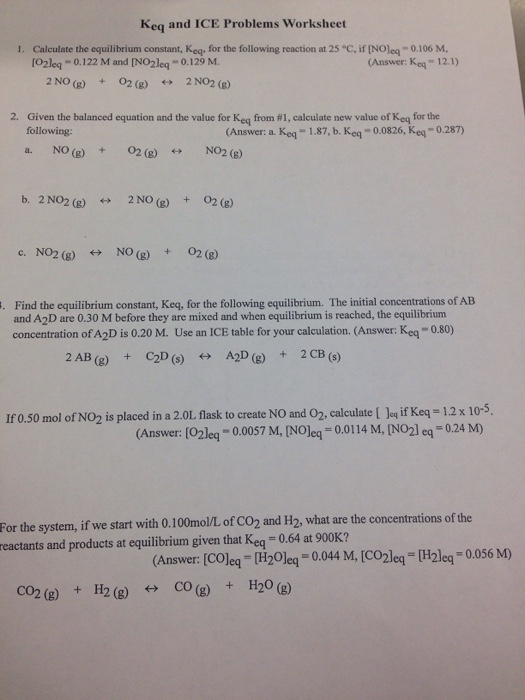 Solved: Keq And ICE Problems Worksheet Calculate The Equil ...