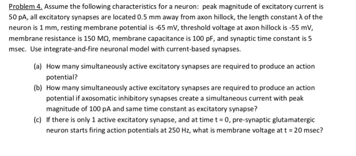 Problem-Assume the following characteristics for a neuron: peak magnitude of excitatory current is 50 pA, all excitatory syna
