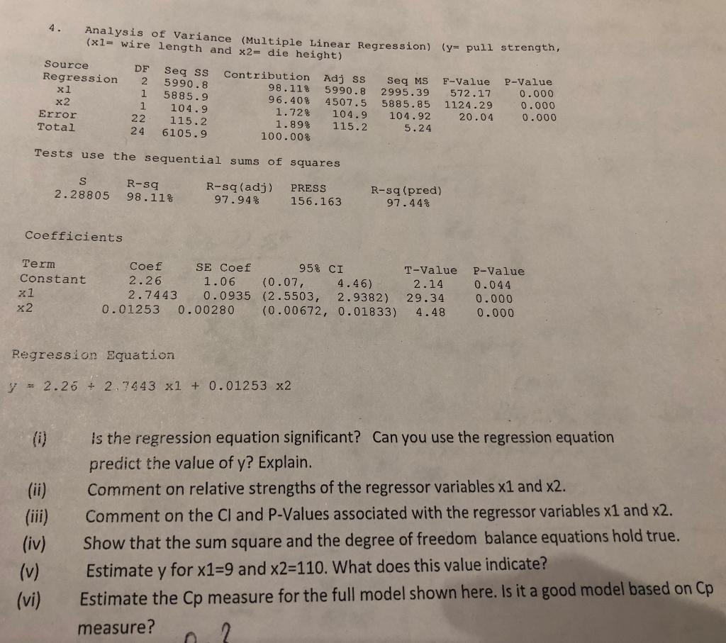 Solved 4 Analysis Of Variance Multiple Linear Regressio