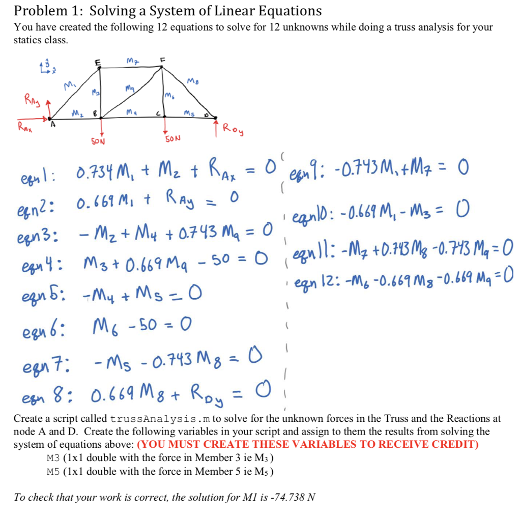 solved: problem 1: solving a system of linear equations yo