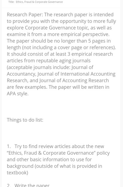 corporate governance topics research paper