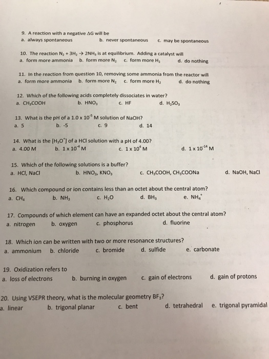 Solved 9 A Reaction With A Negative G Will Be A Always