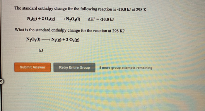 Solved: The Standard Enthalpy Change For The Following Rea ...