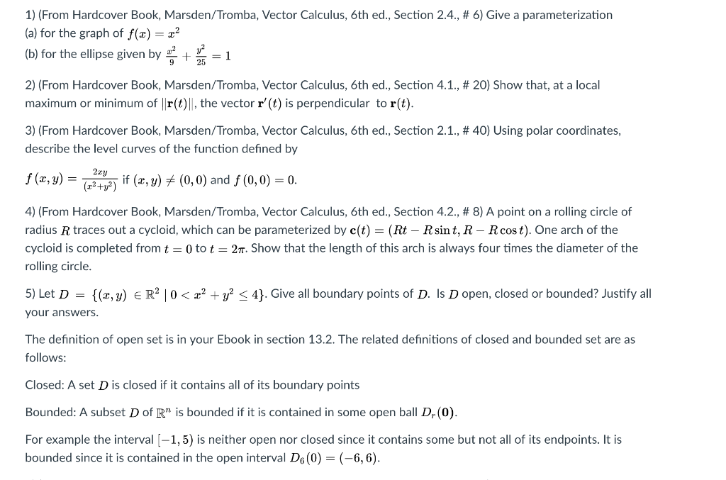 Solved: 1) (From Hardcover Book, Marsden/Tromba, Vector Ca