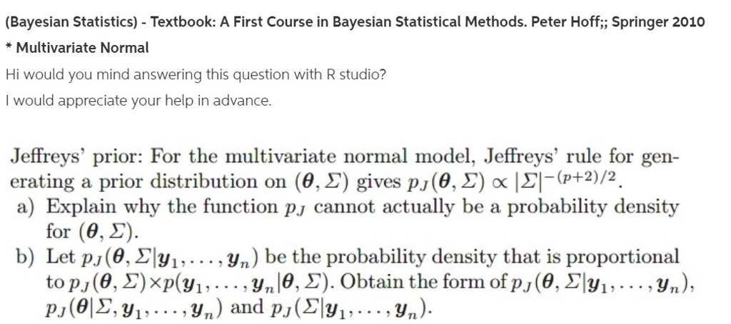 Bayesian Statistics) Textbook: A First Course In     | Chegg com