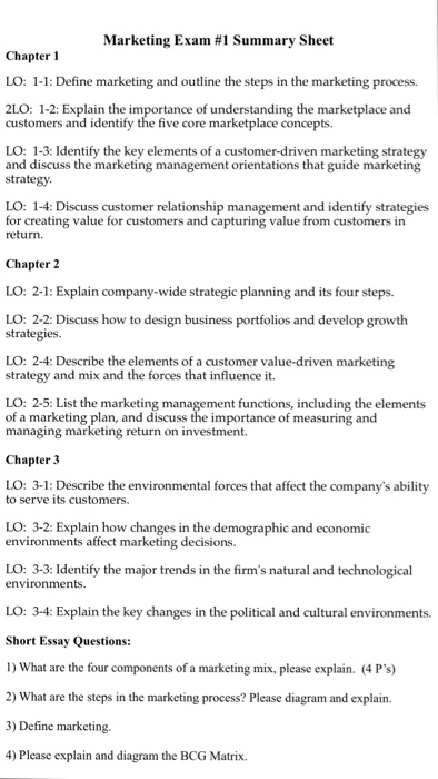 Solved Marketing Exam 1 Summary Sheet Chapter 1 Lo 1 1