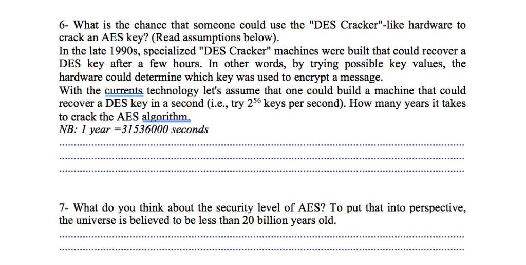 62ee73fbb070 Question  1- What are the three (3) possible values (in bits) for the  length of the AES algorithm keys  1- .