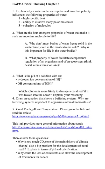 Solved Bio195 Critical Thinking Chapter 3 Explain Why A