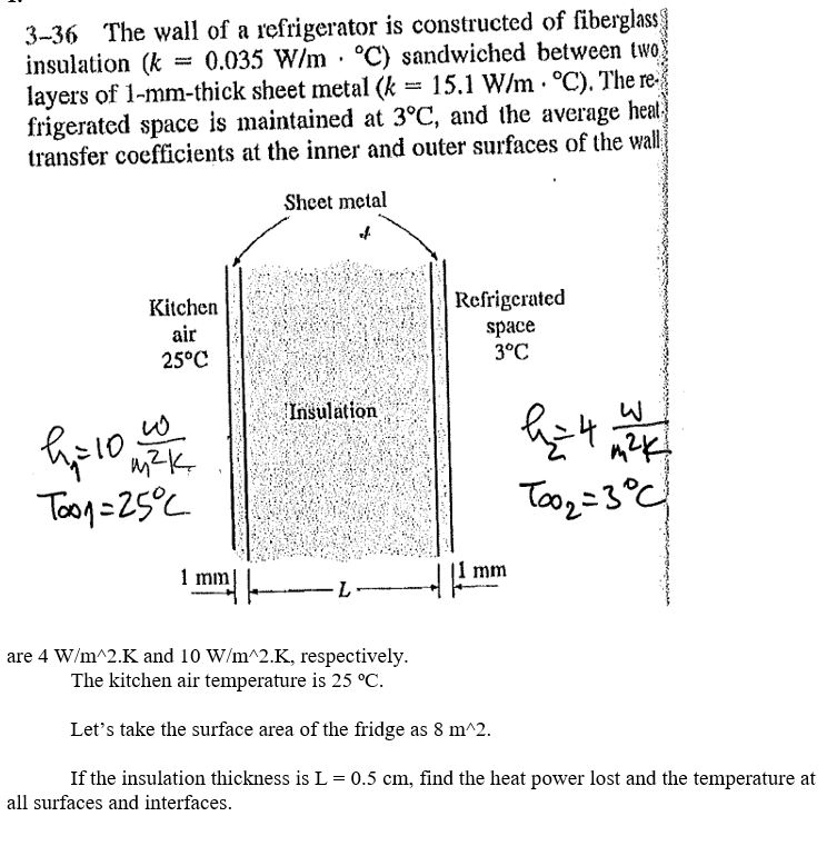 Solved: 3-36 The Wall Of A Refrigerator Is Constructed Of