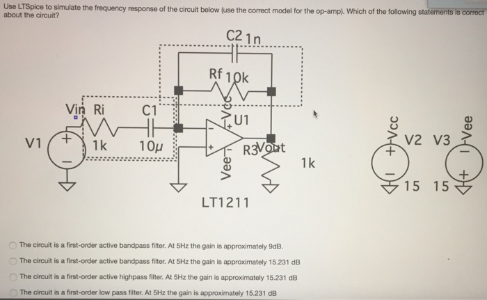Solved: Use LTSpice To Simulate About The Circuit? The Fre