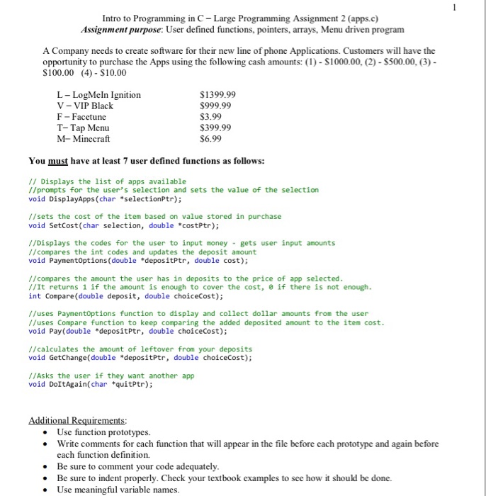 f4e789f0de6 Intro to Programming in C Large Programming Assignment 2 (apps.c)  Assignment purpose