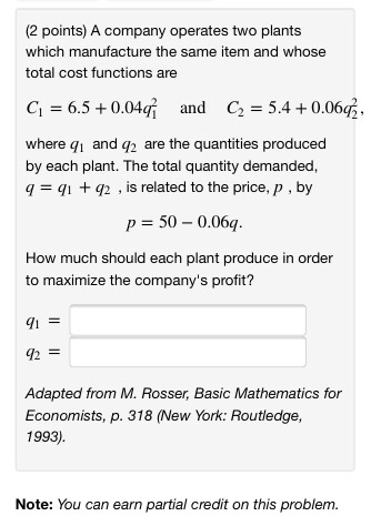 Solved: (2 Points) A Company Operates Two Plants Which Man