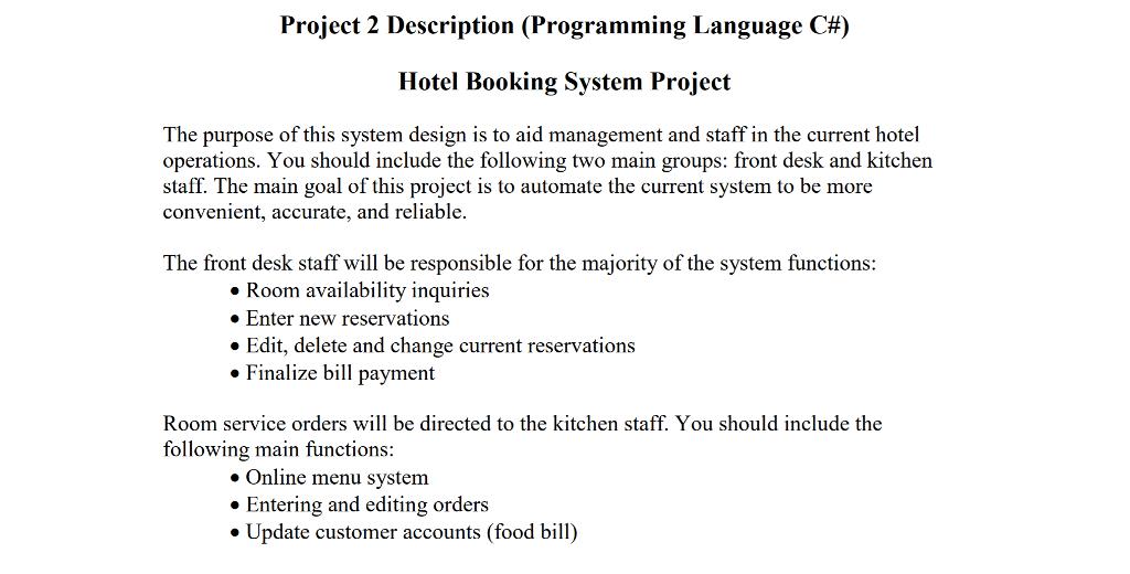 Project 2 Description (Programming Language C#) Ho      Chegg com