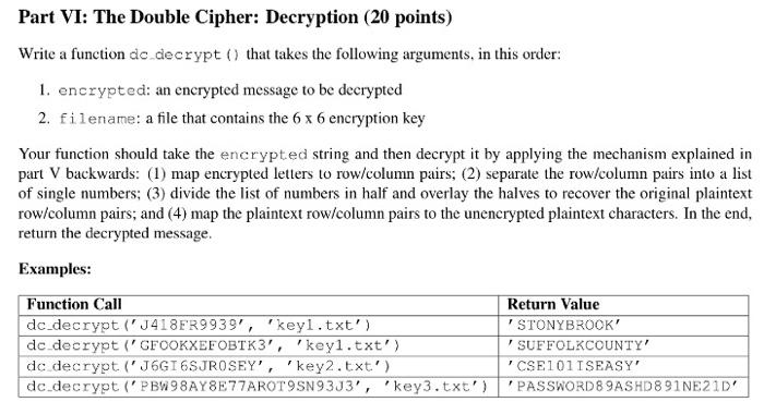 Solved: Part VI: The Double Cipher: Decryption (20 Points