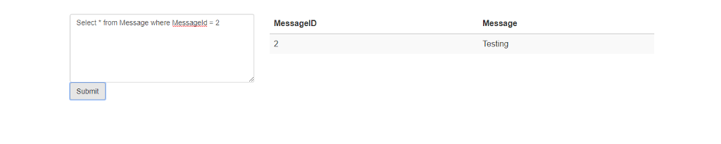 Message MessagelD Select from Message where Messageld-2 Testing 特hnil