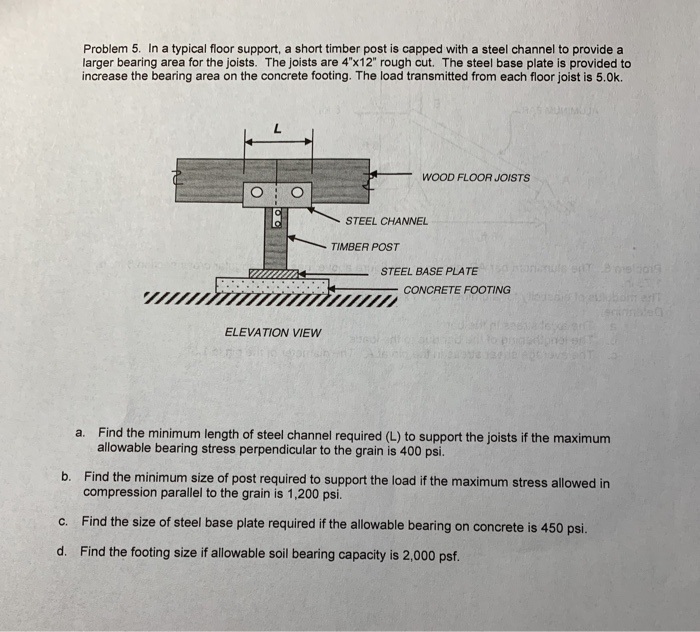 Solved: Problem 5  In A Typical Floor Support, A Short Tim