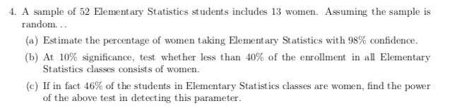 Solved: 4  A Sample Of 52 Elementary Statistics Students I