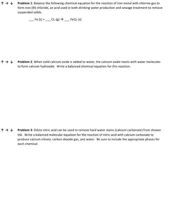 Solved Balance The Following Chemical Equation For The Re