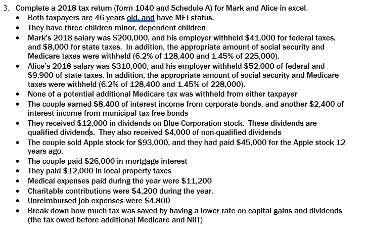 3  Complete A 2018 Tax Return (form 1040 And Sched