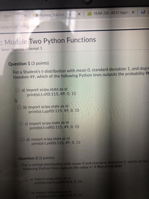 Solved: SNHUr-R- ) Python-Practice-' HUM-200-14033 Appl X
