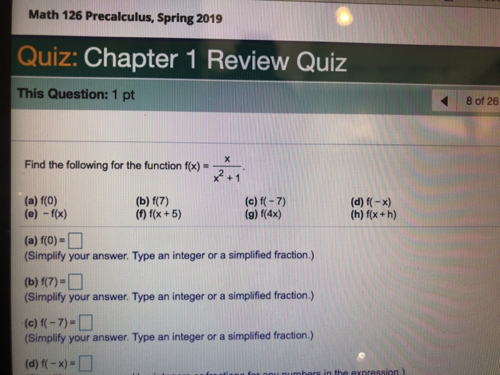 Chapter 1 Review Answers Math
