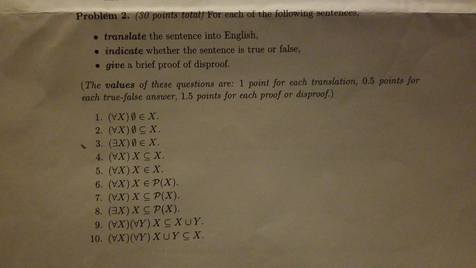 Solved: Problem 2  (30 Po   Translate The Sentence Into En