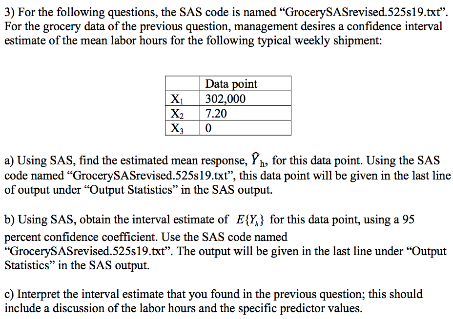 Solved: SAS Code For Problem: Title 'grocery Questions'