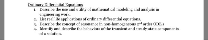 Solved: Ordinary Differential Equations 1  Describe The Us