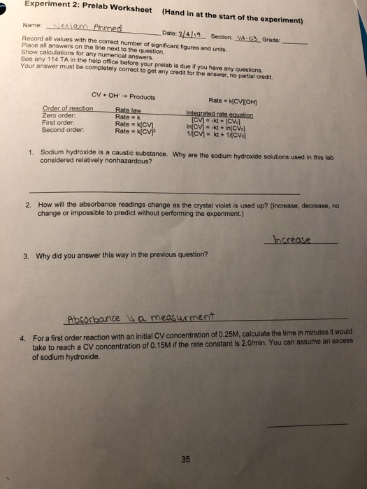 Solved: Experiment 2: Prelab Worksheet (Hand In At The Sta ...