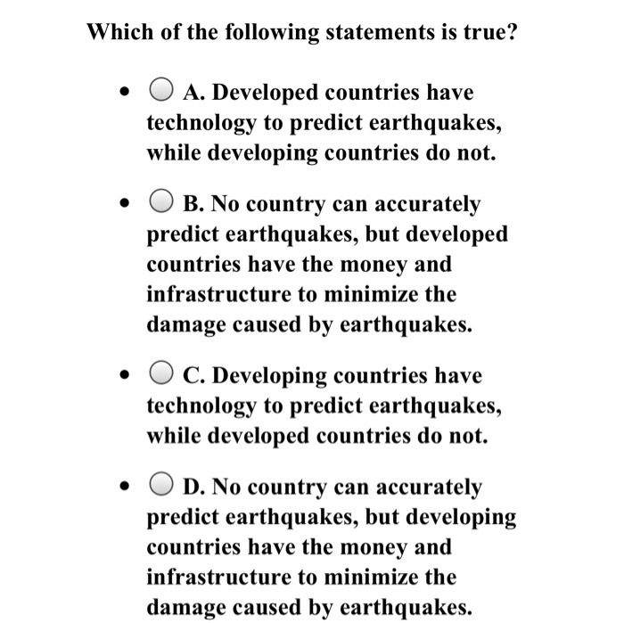 Solved: Which Of The Following Statements Is True? A. Deve ...