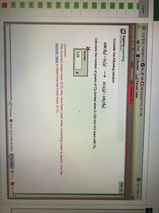 Solved Calculate The Number Of Grams Of Cl2 Formed When 0