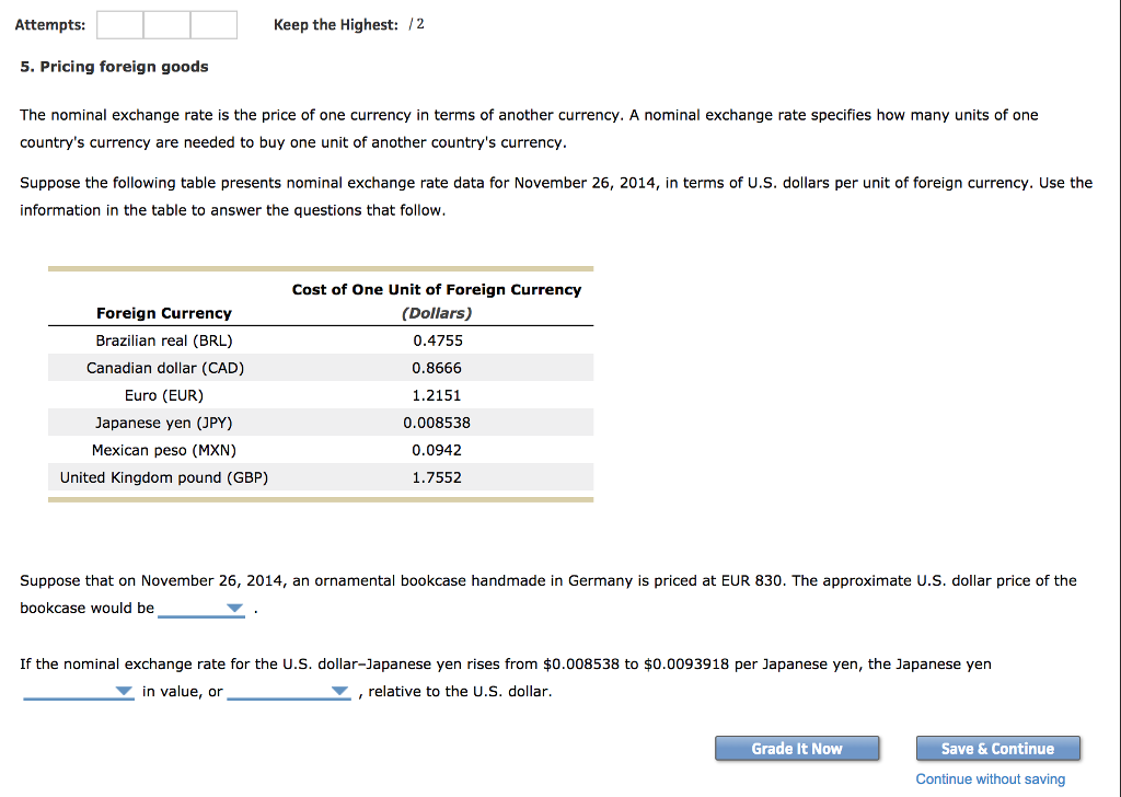 Keep The Highest 12 Attempts 5 Pricing Foreign Goods Nominal Exchange Rate Is