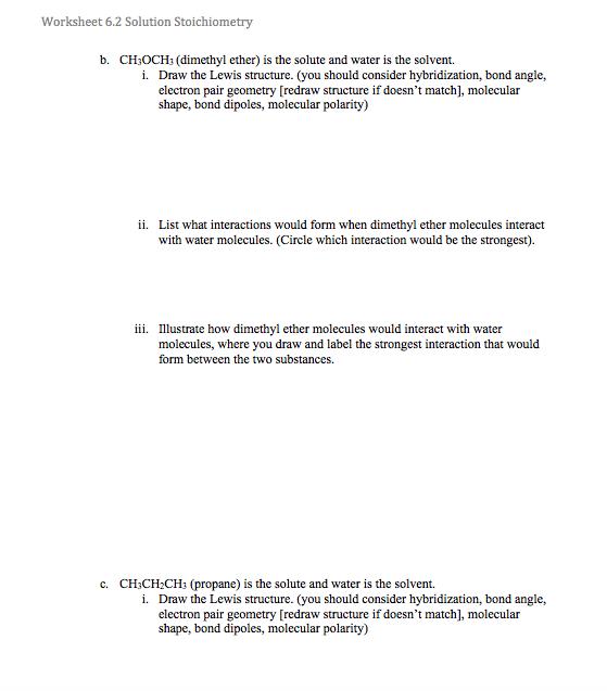 Solved: Worksheet 6.2 Solution Stoichiometry B. CH3OCH: (d ...