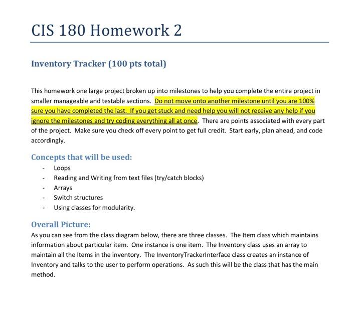 solved cis 180 homework 2 inventory tracker 100 pts tota