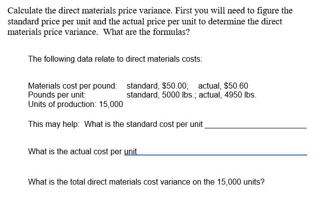 Direct Materials Price Variance Fir