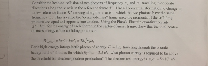 Solved: Consider The Head-on Collision Of Two Photons Of F ...