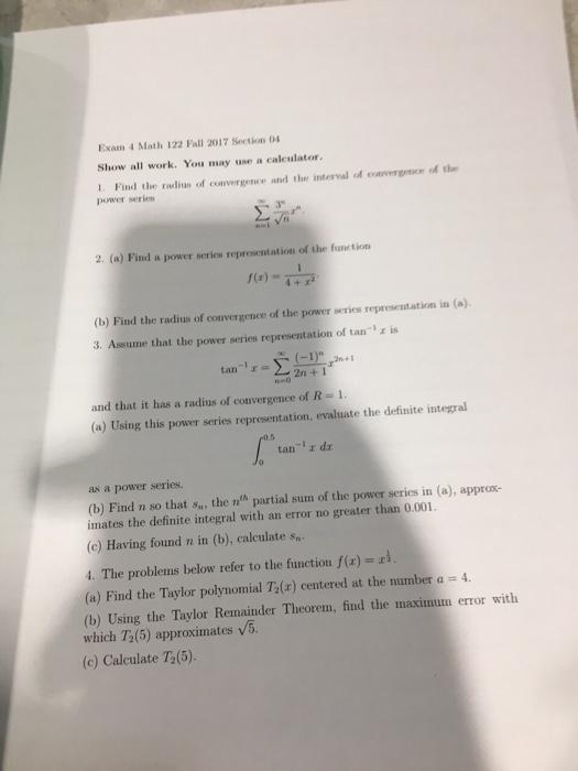 Solved: Exam 4 Math 122 Fall 2017 Section 04 Show All Work