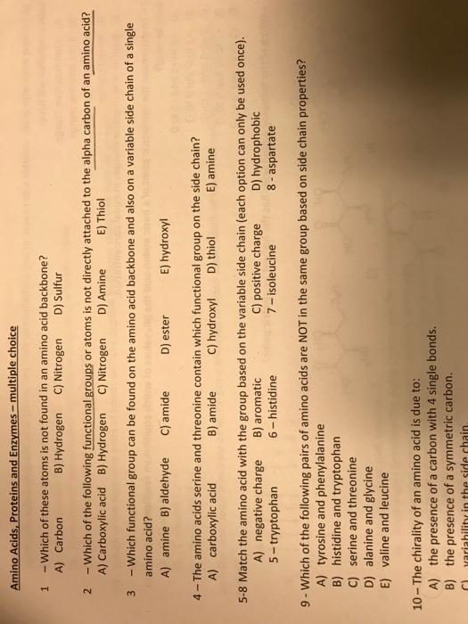 amino acid mcq with answers