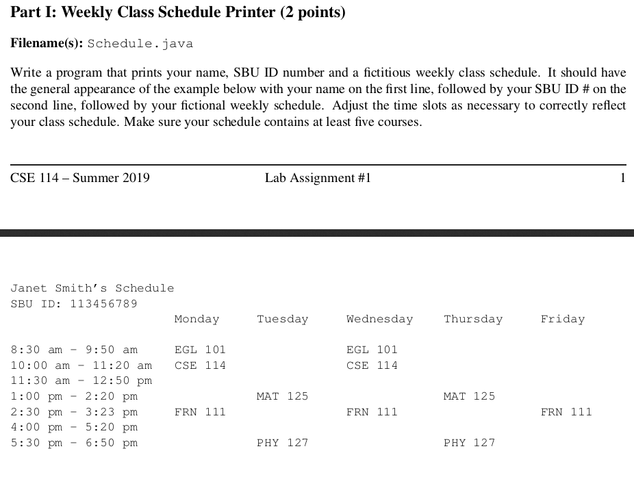 Solved: Part I: Weekly Class Schedule Printer (2 Points) F