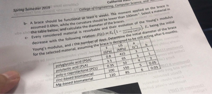 Spring Semester 2019 Californiá sta ugmo College of Computer gineering, Computer Science, and Ieu b- A brace should be functi