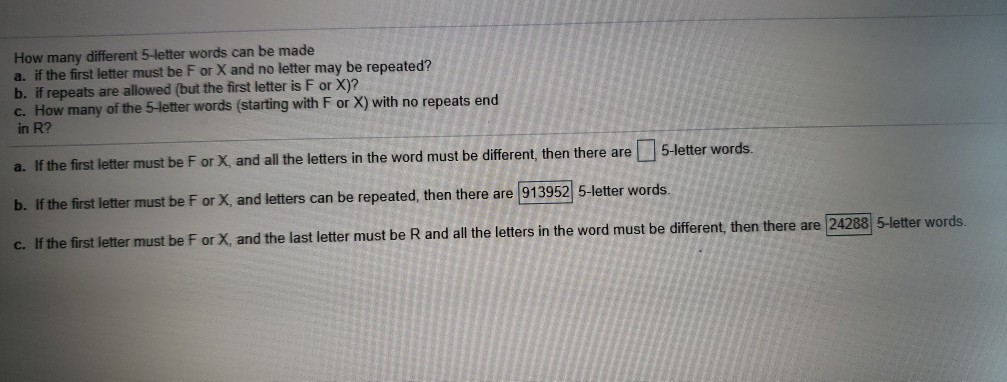 Solved: How Many Different 5-letter Words Can Be Made A  I