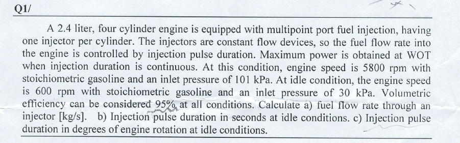 Solved: Q1/ A 2 4 Liter, Four Cylinder Engine Is Equipped