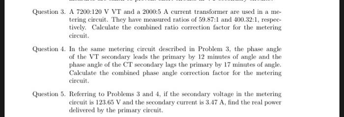 Question 3  A 7200:120 V VT And A 2000:5 A Current    | Chegg com