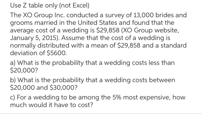 Average Wedding Costs 2015.Solved Use Z Table Only Not Excel The Xo Group Inc Con
