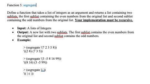 Function 5 Segregatel Define A That Takes List Of Integers As An Argument