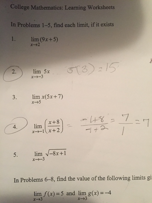 Solved: College Mathematics: Learning Worksheets In Proble ...