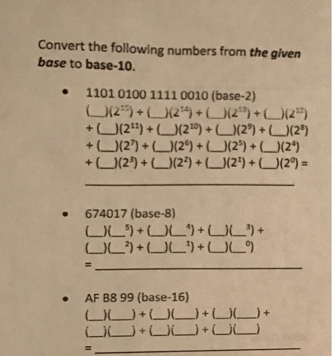 Convert The Following Numbers From Given Base To 10 1101 0100 1111
