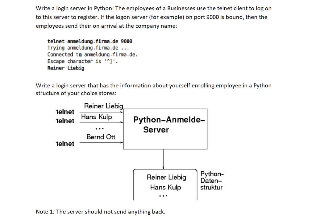 Solved: Write A Login Server In Python: The Employees Of A